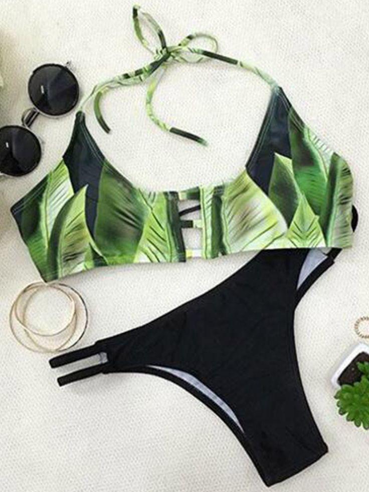 Simple Leaf Print Hollow Bikini Set