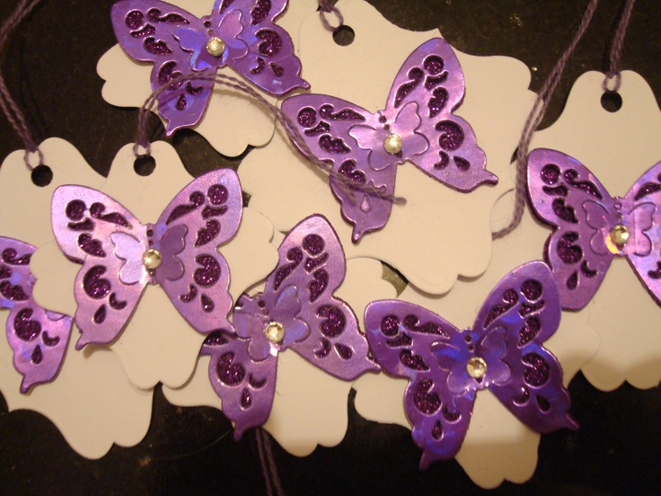 100's of Beautiful, Purple Sparkle & White Gift/Favour Tags, other colours available, email for info jaydons@hotmail.co.uk