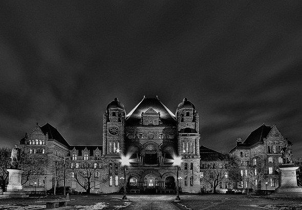 Before the Legislative Assembly of Ontario was built, an insane asylum stood there and paranormal investigators attribute the hauntings to the spirits of former patients.