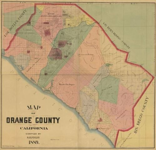 image regarding Printable Map of Orange County Ca known as Orange County 1889 Wall Map. Sunny SoCal! Click on for