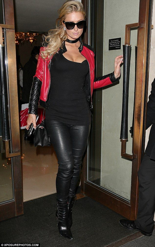 Edgy: Paris Hilton decided to edge up her usually sophisticated style as she channelled biker chic as she stepped out of The Mayfair Hotel for the evening