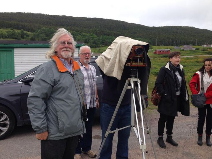 Thaddeus Holownia and his banquet camera at the opening of 2 Rooms. Thaddeus has been using this camera for over 20 years photographing beautiful Newfoundland.