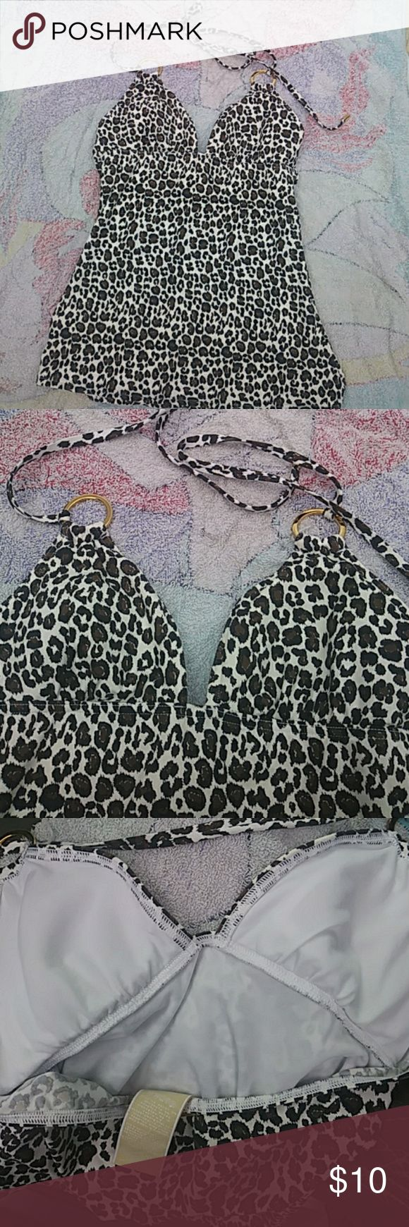 Michael Kors animal print tankini halter swim top Leopard brown and black printed over solid white background. Nylon and stretches. Drawstrings for halter top closing. Gold accents as shown for pretty detail. In excellent barely worn condition Michael Kors Swim