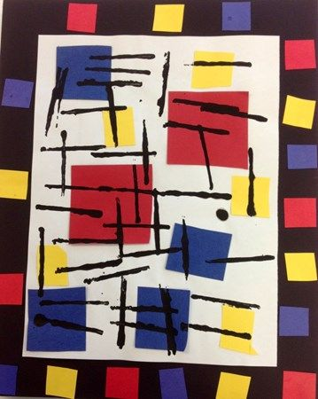 """Seth5341's art on Artsonia. (From the website) """"Our Kindergarteners learned all about Mondrian's """"Broadway Boogie Woogie"""". We learned the primary colors and practiced cutting skills. We also learned about horizontal & vertical lines and we even tried to show an A-B-C pattern in our frames!"""""""