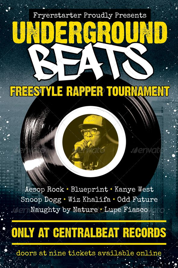 Underground Beats Hip Hop Flyer Template Vinyls Fonts