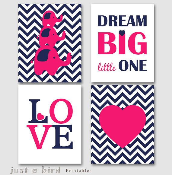 Dream big little one, Elephant set, navy blue hot pink nursery decor,  nursery printable, girls room print -INSTANT DOWNLOAD