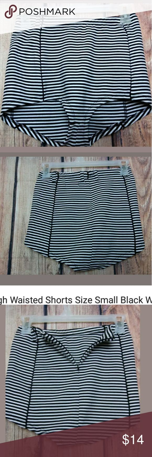 """High Waisted Shorts Size Small Black White Striped High Waisted Shorts Size Small Black White Striped Short Shorts CooperativeNew without tags  Waist: 12"""" across  Label have been black lined to prevent store returns  Smoke/Pet Free Home              Bin#6 Cooperative Shorts"""