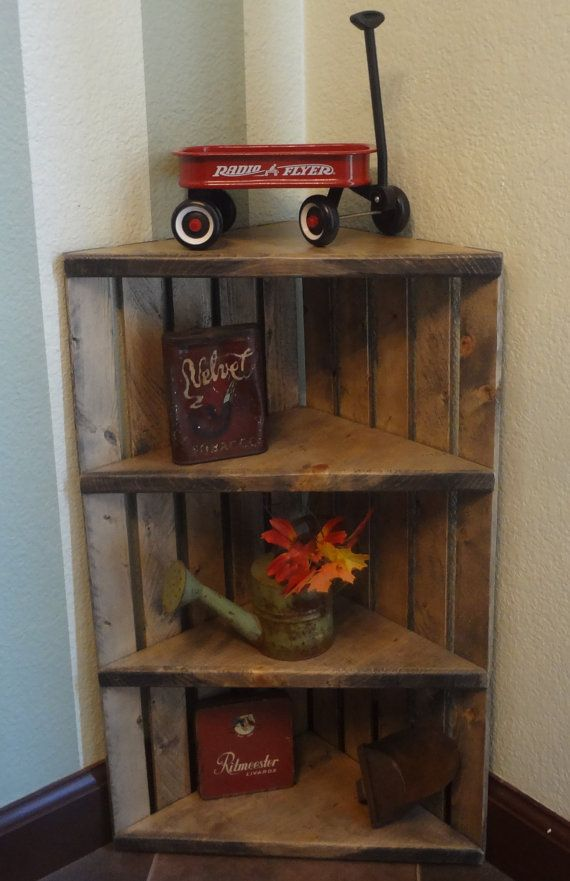 Wooden Corner Crate Shelf Rustic Grey by WoodenCrateGallery