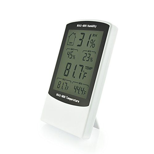 Easy to Read Large Indoor Digital Thermometer and Humidity Meter Display Works in Fahrenheit  Celsius Simple Temperature  Relative Humidity Monitor with Max  Min History ** Check this awesome product by going to the link at the image.