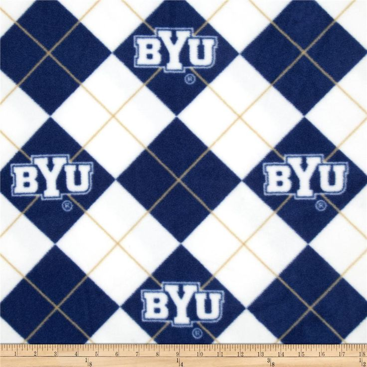 Collegiate Fleece Brigham Young University White from @fabricdotcom  Cheer on the Cougars, your favorite college team with this collegiate fleece! With an anti-pill face this soft, warm and cozy fleece is perfect for throws, stadium blankets, seat cushions, hats, scarves, pillows, vests, pullovers and much more! This is a licensed product and not intended for commercial use.