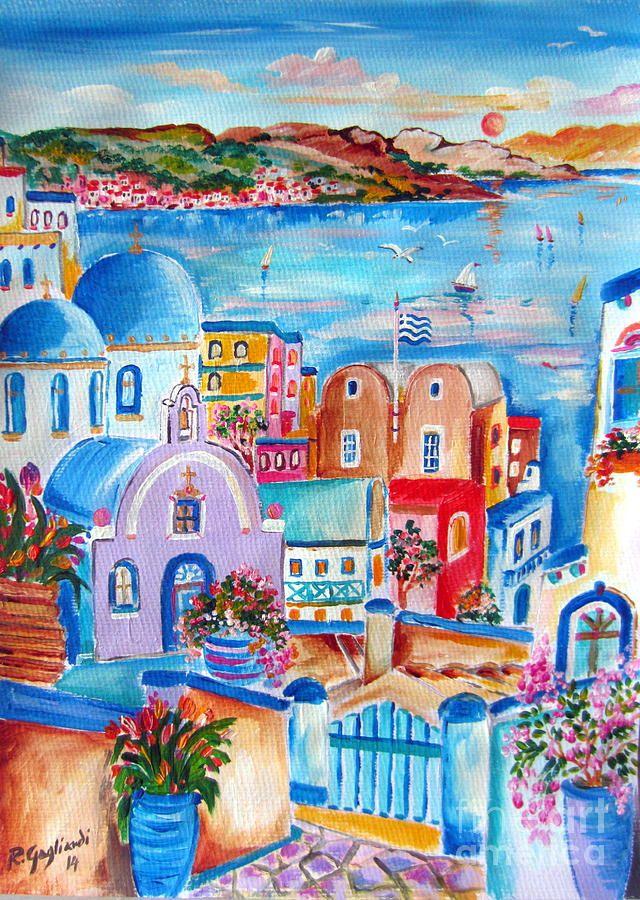 Greek Flag In Santorini Painting