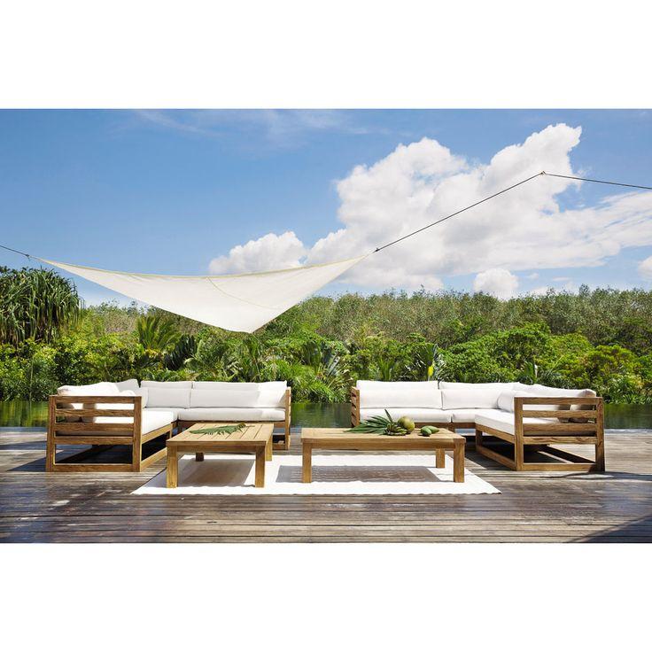 Canapé d'angle de jardin 3/4 places en teck Cyclades   Maisons du Monde