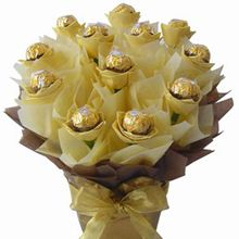 Sweet Sentiments  Price:  US$49.99  Send your sweet sentiments with this elegant bouquet of chocolates; each elegantly enclosed in delicate floral-like tissue and bound together to form a stunning chocolate bouquet.