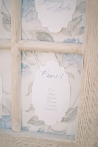 Window frame seating chart | Anastasiya Belik Photography | http://burnettsboards.com/2013/12/powder-blue-white-wedding/
