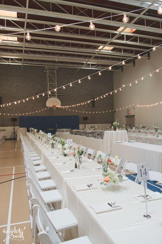 #gymwedding #stringlights #banquetseating #bigwedding #whitewedding #blushpinkandnavywedding