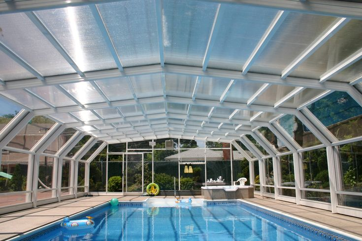 New York Pool Enclosure Manufactured By Roll A Cover Pool Enclosures Swimming Pool Designs Residential Pool