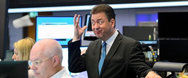 PHOTO: Analyst Robert Halver reacts at the Frankfurt Stock exchange the day after a majority of the British public voted for leaving the European Union, June 24, 2016 in Frankfurt, Germany.