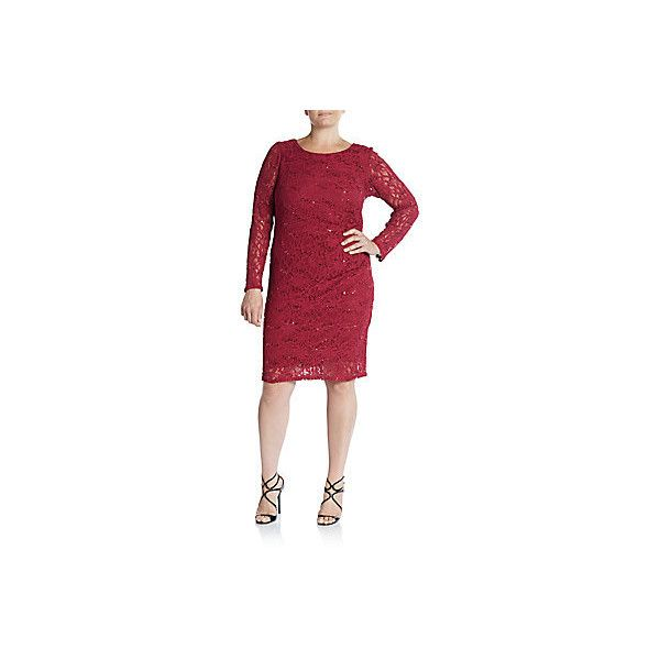 Marina, Plus Size Sequined Lace Sheath Dress ($50) ❤ liked on Polyvore featuring plus size women's fashion, plus size clothing, plus size dresses, plus size, red sequin dress, plus size sequin dress, long sleeve lace cocktail dress, long sleeve cocktail dresses and long-sleeve lace dress
