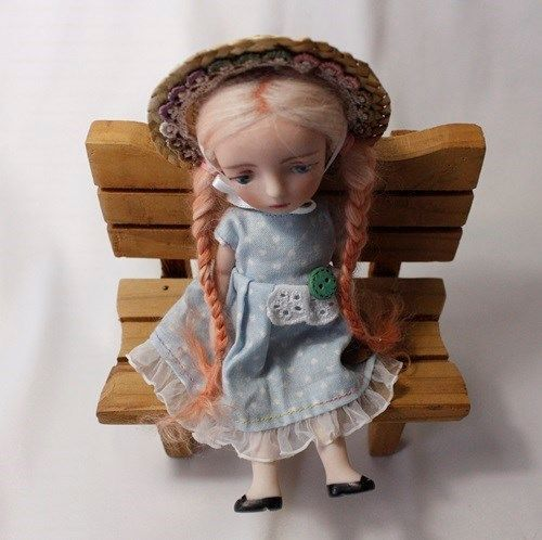 "6.3"" FRENCH STYLE BISQUE HANDMADE RILLY DOLL WITH RED HAIR BY WOOL"