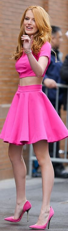 Bella Thorne's PINK OUTFIT Inspiration: | IDEA- wear a Flared Hot Pink MAXI Dress if don't have or want a midriff outfit + ADD Matching Hot Pink Flats!