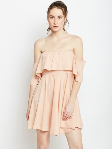a3be740e91d Pink Solid Fit and Flare Dress