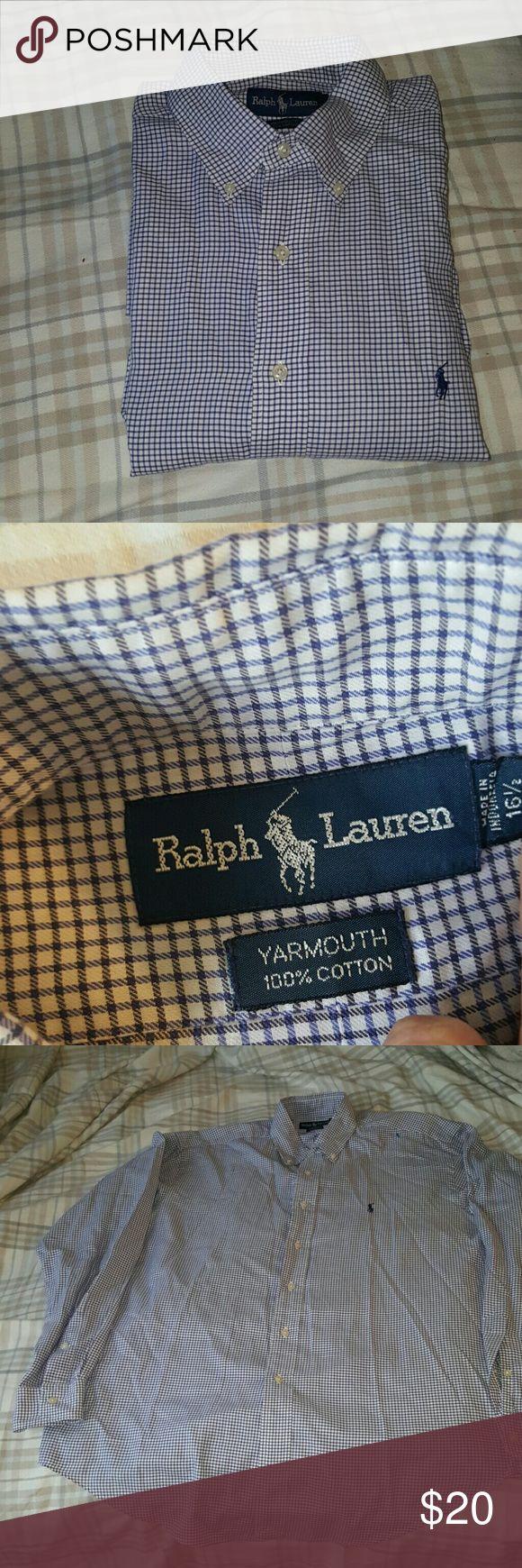 RALPH LAUREN YARMOUTH COTTON POLO SHIRT 16.5 POLO RALPH LAUREN YARMOUTH 16.5 36/37 CHECK PRINT BLUE BUTTON DOWN  DRESS SHIRT Polo by Ralph Lauren Shirts Dress Shirts
