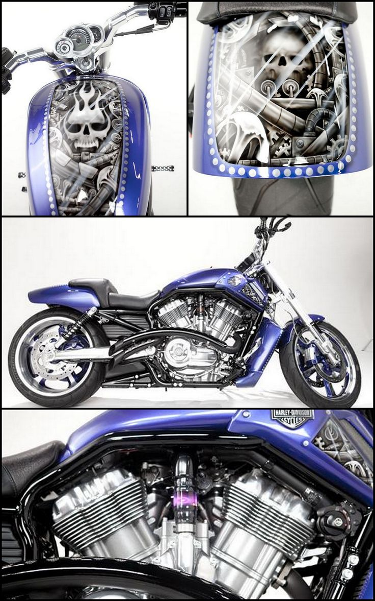 Airbrushed Skulls by Flex Cycles - 2012 V-Rod Anniversary Edition - Located in Houston, TX - To see more photo visit => http://www.chopperexchange.com/2012-VRSCDX-V-Rod_Anniversary_Edition-247695?utm_source=pinterest_medium=board_campaign=bike247695