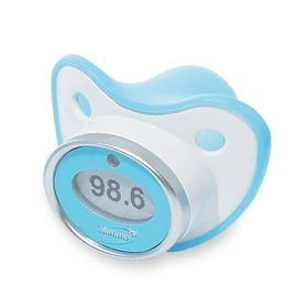 You want to take his temperature without having to jam gently insert a traditional thermometer in his mouth? Try this $10 thermometer pacifier from eGiggle.