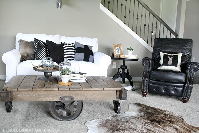Industrial Farmhouse Family Room Rustic Industrial