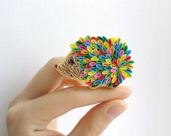 Snail brooch multicolor snail brooch polymer clay by Liskaflower