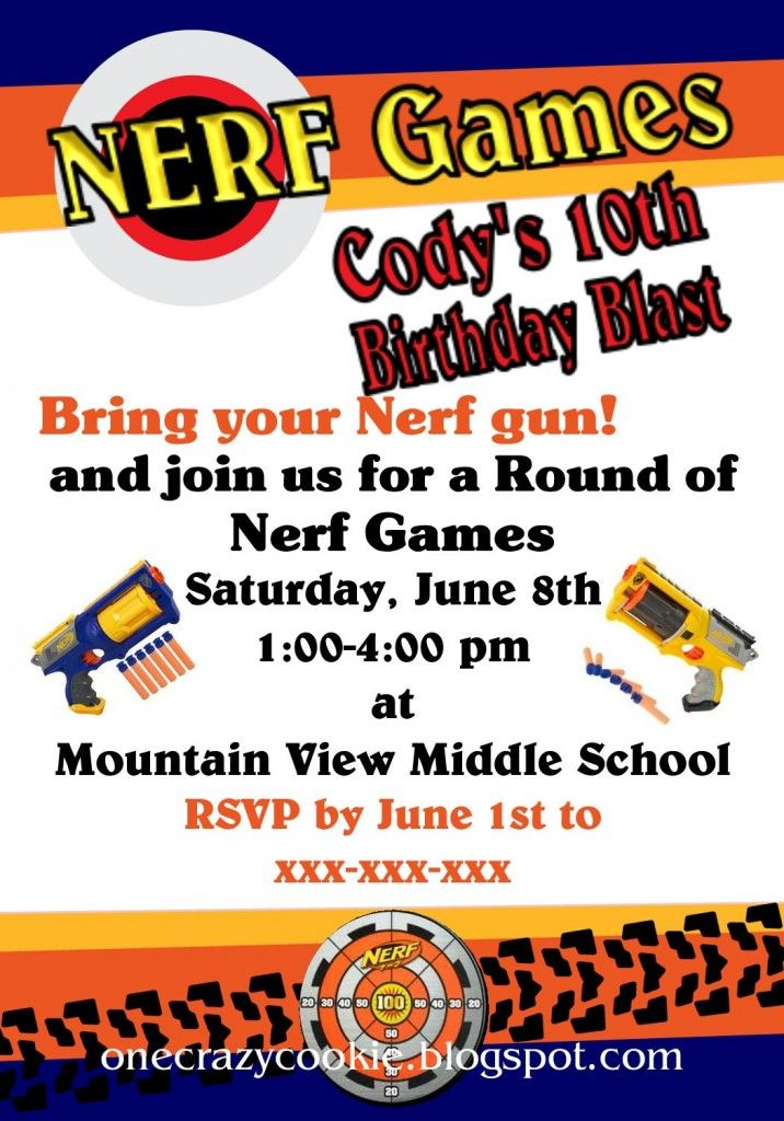Nerf Birthday Party Invitations - Making Memories With Your Kids