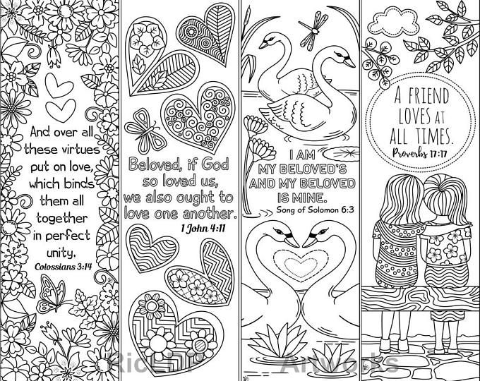 Set Of 8 Coloring Bible Cards Cute Scripture Doodles Etsy Coloring Bookmarks Bible Coloring Bible Coloring Pages