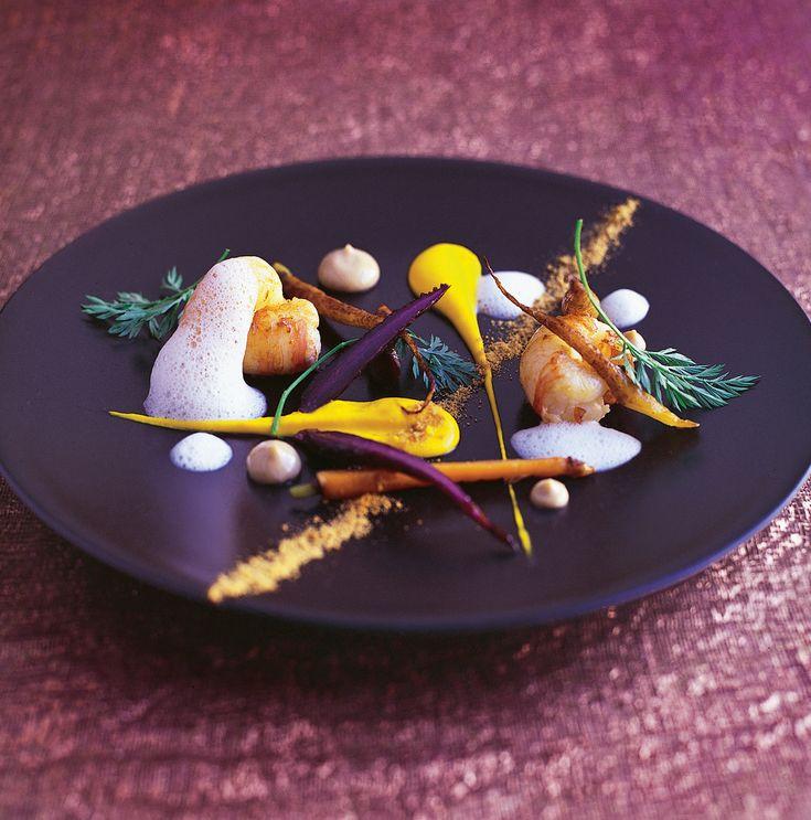 Chef Everitt-Matthias | Le Champignon Sauvage (Cheltenham, UK) | Sauté of langoustines, roasted heritage carrots, carrot purée, buttermilk