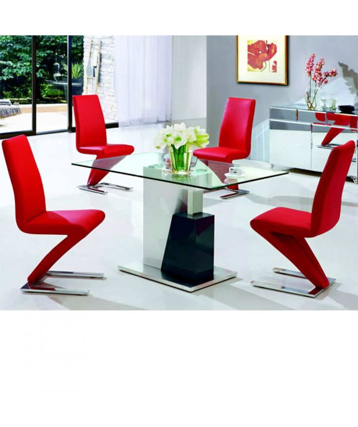 Alonzo Clear Glass Diningtable Comes With 6 Leather Diningchairs Is Perfect To Fill Your