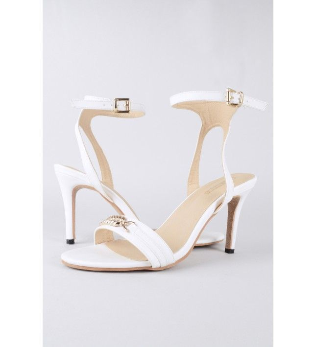 79792199c57 White Barely There Heels With Chain Detail | Shoes | Pinterest ...