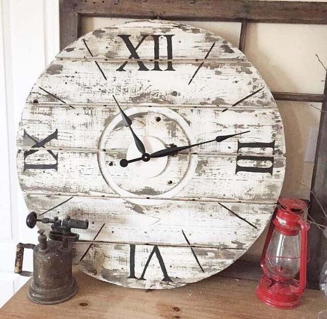 """Distressed "" is one of the many beautiful rustic clocks we offer at our online boutique.  www.anchored4.com We ship world wide!!!  Sign up for our free Anchor Rewards Program to earn anchor points to get money off purchases or cash in anchor points to get items in our store FREE!!!"