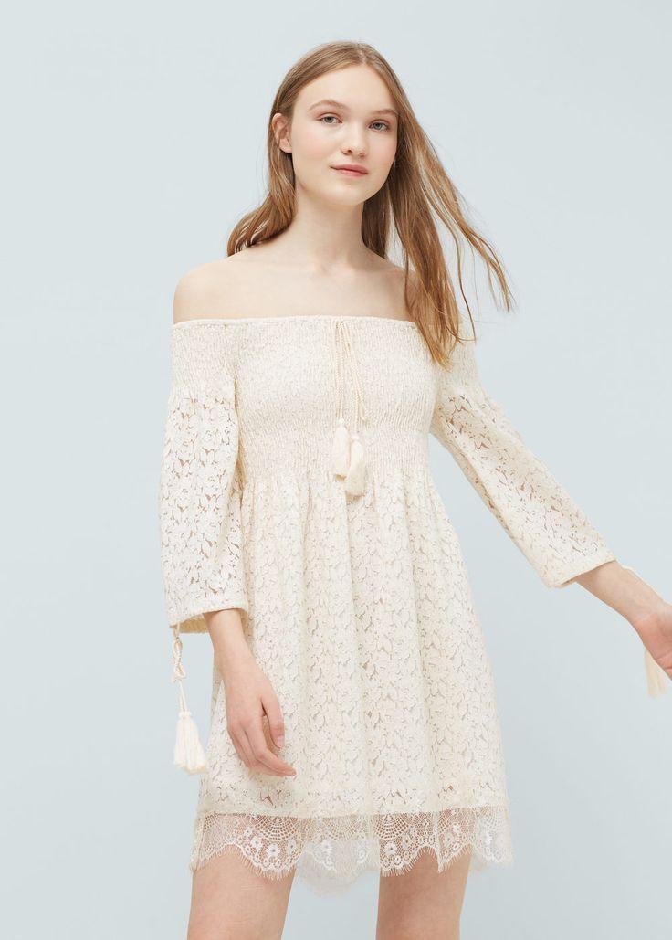 Guipure cotton dress - Dresses for Women   MANGO USA
