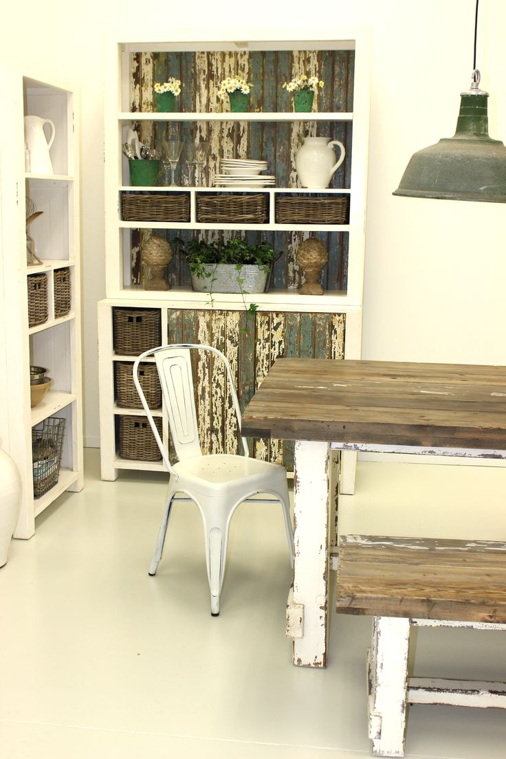 New Adele Collection in store, white-washed dining table, bench seat, coffee table and matching buffet/bookcases.