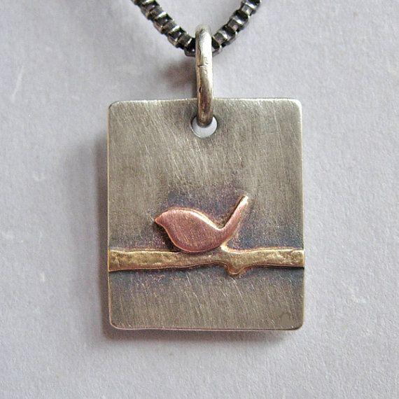 Silver Brass Copper Bird on a Wire Pendant by jordanfineartjewelry, $42.00