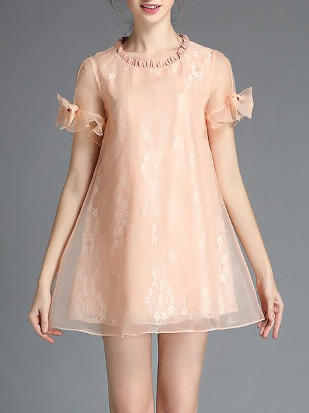 Shop Mini Dresses - Casual Short Sleeve Organza Crew Neck Mini Dress online…