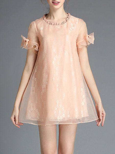 Shop Mini Dresses - Casual Short Sleeve Organza Crew Neck Mini Dress online…