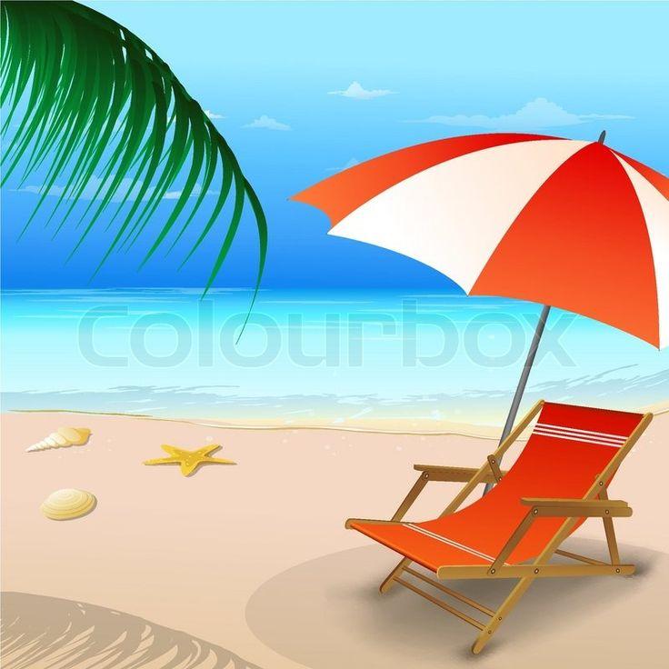 Illustration of chair with umbrella on beach Vector Colourbox