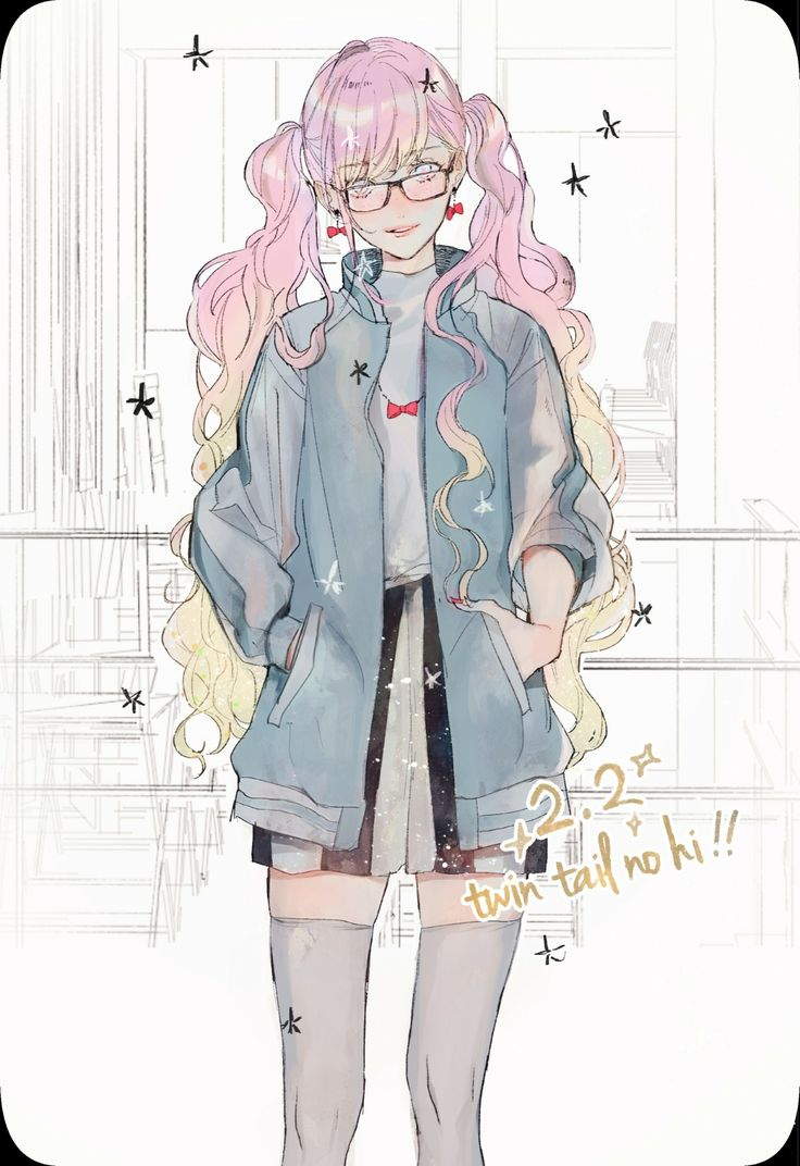 Pink pigtails twin tails bomber jacket anime lolita illustration