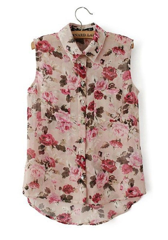 Multicolor Floral Print V-neck Sleeveless Cotton Blend Blouse