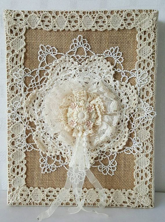 Rustic Shabby Chic , Burlap Wall Decor , Burlap And Lace , Canvas , Rustic Decor…