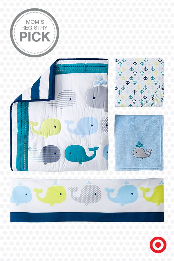 The Circo Whales 'n Waves 4-pc. crib bedding set features a pod of adorable whales, and is a Mom's Registry Pick. This sweet, nautical-themed nursery set includes a comforter, dust ruffle, fitted sheet and baby blanket.