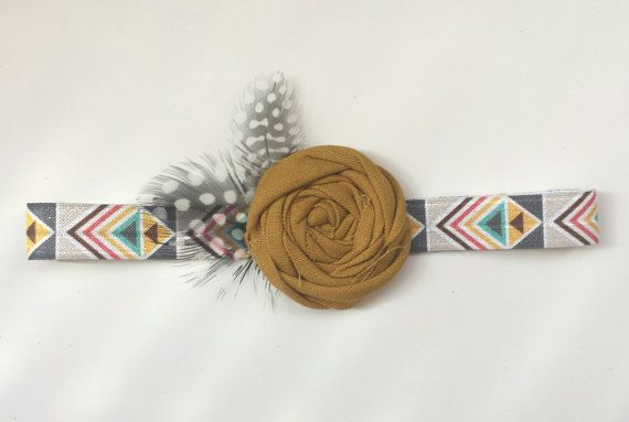 Boho Mustard Feather Headband  Neutral  by StellaArborBoutique