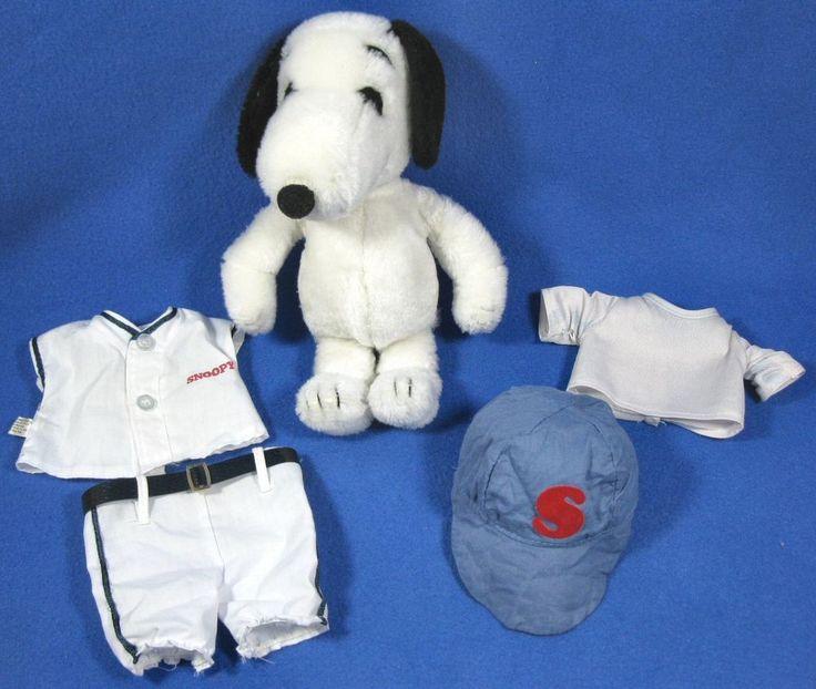 "Vintage 11"" Baby Plush Snoopy With HTF Baseball Uniform 1968"