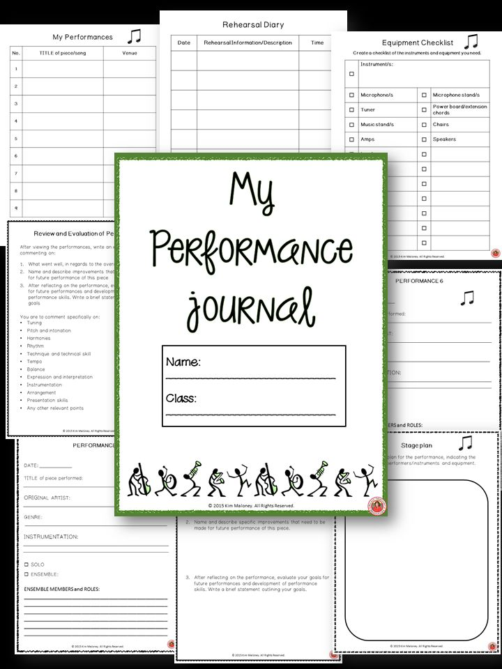 Music Performance Journal for middle/high school students!  Great tool for getting students to be more invested in their performances with self-evaluations. Helps them start thinking on a more analytical level.    ♫ CLICK through to preview or save for later!  ♫