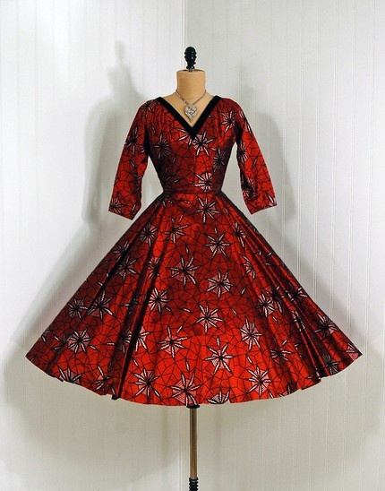 1950's Vintage Mark Robbins Designer-Couture Metallic Ruby-Red Silk Organza Dress